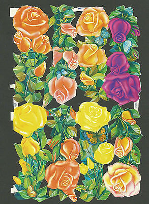 Mlp 1491 - Roses - Scraps Oblaten Glanzbilder Mamelok Press Discontinued Sheet