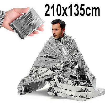 2m Large Emergency Foil Blanket Thermal First Aid Survival Camping Rescue Kit
