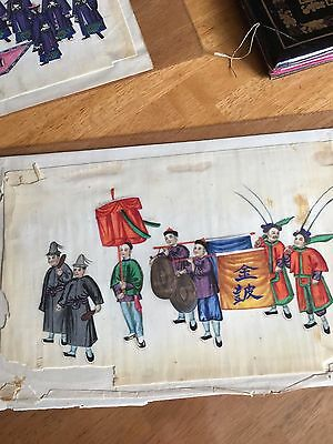 Antique Chinese Pith Paper Painting 19Th Century #4