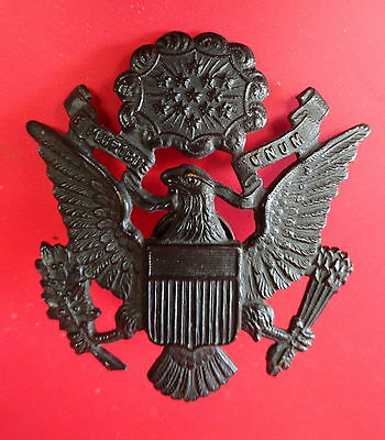Wwi Us Army Officer'S Bronze Cap Badge