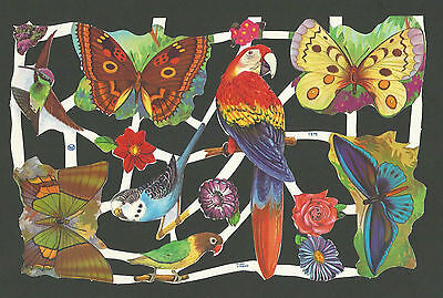 Mlp 1575 - Butterflies Birds Scraps - Oblaten - Mamelok Press Discontinued Sheet