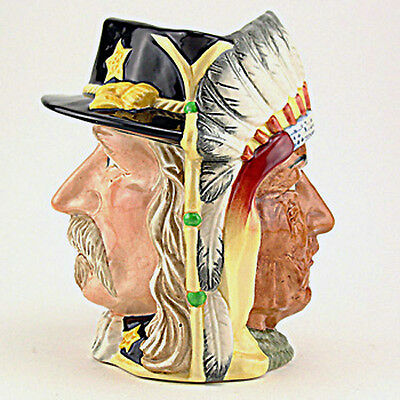 "CUSTER & SITTING BULL Royal Doulton Character Jug NEW NEVER USED D6712 7"" tall"