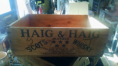 Antique Haig and Haig Scotch Whiskey Bottle Wood Wooden Crate Scotland 20x13x7