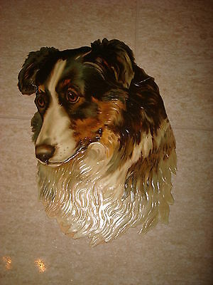 Antique LARGE german victorian scrap- border collie dog 9 inches tall