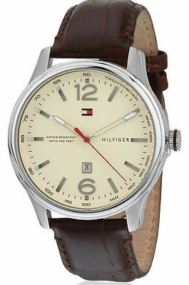 Tommy Hilfiger Men's Brown Leather Beige Dial Watch 1710315