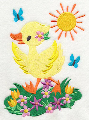 Embroidered duck quilt block, fabric, cushion panel, sunny days,animals,spring