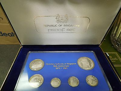 1981 SINGAPORE SILVER PROOF SET 1-5-10-20-50 CENTS & DOLLAR 10 year anniversary