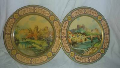Lovely Vintage Kitsch Pair Of Painted Tin Plates With Warwick & Richmond Castle