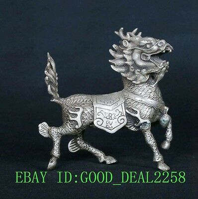 Tibetan Silver Copper Hand-Carved Animal Kirin Statues CSY680