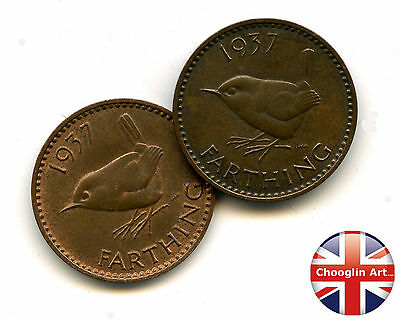 A pair of 1937 British Bronze GEORGE VI FARTHING Coins