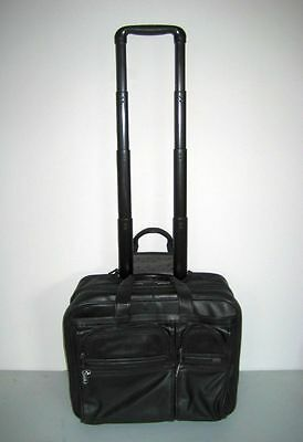 995 Wow GREAT TUMI Wheeled Rolling LEATHER Briefcase Laptop CarryOn Luggage Bag