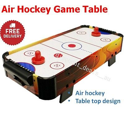 Air Hockey Game Pucks Indoor Table Top Sports Air Powered Portable Fun Kid Adult