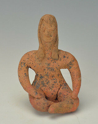 Pre Columbian Rare Terracotta Colima Seated Fertility Female Figure Circa 200 BC