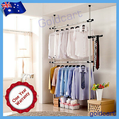 Sturdy 32mm Heavy Duty 2 Poles 2 Bars Coat Hanger Garment Rack Clothes Wardrobe