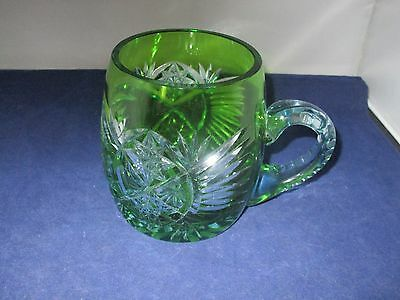 Bohemian Cut To Clear Green Rum Or Beer Mug