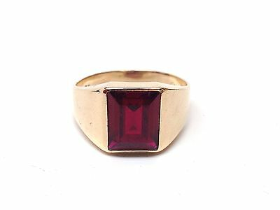 10k Yellow Gold Mens Ring with Red Stone 8675-1