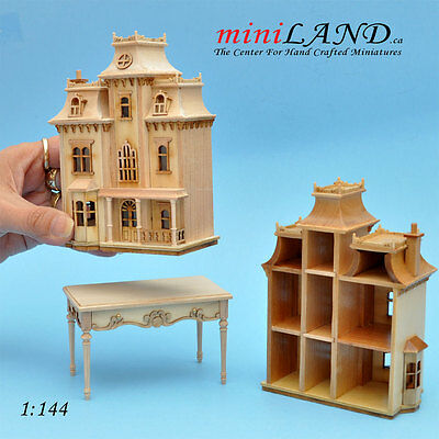 Victorian DOLLHOUSE FOR DOLLHOUSE +TABLE unpainted 1:144 wood Top quality BackUF