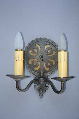 1 Of 2 1920s Antique Light Sconce Fits In Spanish Revival Tudor Tuscan (7177)