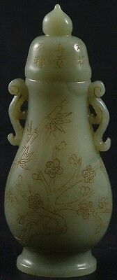 Chinese jade bottle/vase/pot with carved pine, bamboo & plum