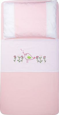 New 3 piece Baby cot sheet set Pink Birdhouse