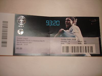 Manchester City v Swansea City Match Ticket 5/2/2017.