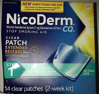 ONE NICODERM CQ STOP SMOKING AID, STEP 1 21mg 14 CLEAR PATCHES TWO WEEK KIT