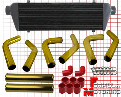 """JDM 27/"""" TURBO INTERCOOLER BLK+2.5/"""" ALUMINUM GOLD PIPING PIPE KIT BLUE COUPLERS"""