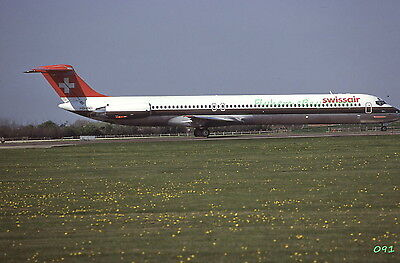 Original 1981 color airplane slide Swissair Airlines MD-81 aircraft HB-IND