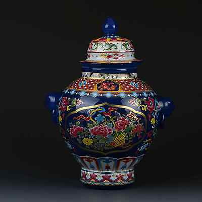 Chinese Famille Rose Porcelain Hand-painted Peony Pot W Qianlong Mark G314