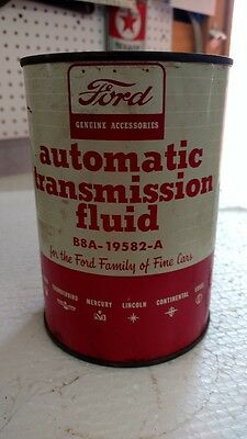Antique Metal Red & White Ford Automatic transmission fluid can/ Full can