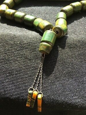 Antique Vintage BAKELITE Prayer Beads, Marbled Spinach Green & Yellow