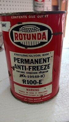 Antique Metal Full Can of Rotunda Permant Anti-Freeze quart can