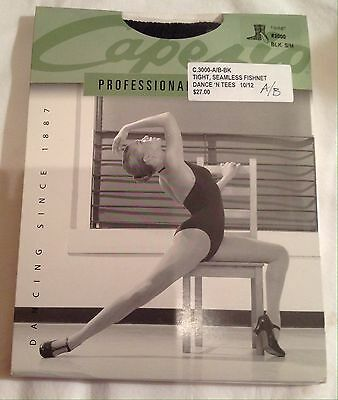 Capezio Professional Tights- C3000-A/B-blk, Seamless Fishnet Tights, Small/Med
