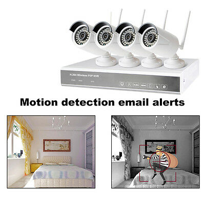 4PCS IP Wifi 4CH 720P CCTV NVR Outdoor Wireless Network Security Camera System@P