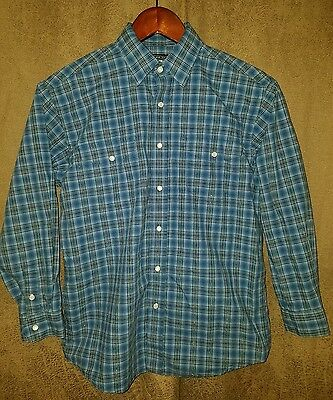 Boys Rough Stock Panhandle Slim Western Cowboy Rodeo Long Sleeve Shirt L 14 Nice