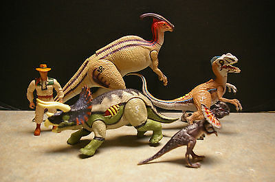 Lot Of 5 'jurassic Park' Figures - 4 Dinosaurs And 1 Action Figure