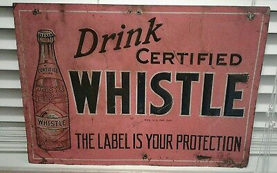 Rare 1920s Whistle tin embossed soda sign not orange crush