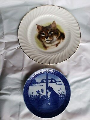 2 Kitty Plates Royal Copenhagen Christmas ROSE CAT 1970 & Royal Staffordshire