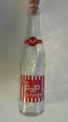 """Scarce Canadian (Ontario) """"the Pop Shoppe""""10 Oz Embossed Clear Bottle-Red& White"""