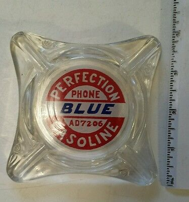 "Rare American(?) ""perfection Gasoline -  Blue"" Clear Glass Ashtray W/ Decal"