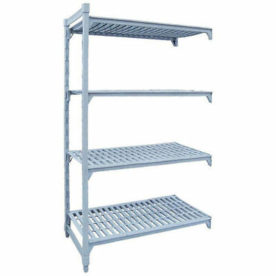 Add-On Shelving Kit w Vented Shelves, 4 Tier, Poly Coated Steel, 1525x455x1800mm