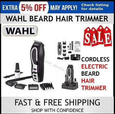 Wahl Beard Trimmer Cordless Groomer Rechargeable Mens Shaver Hair Clipper Face