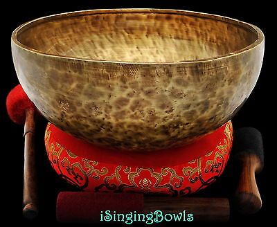 "New Tibetan Singing Bowl: Jambati 13 1/4"" Diameter, Contemporary, F#2 & D#6. VID"