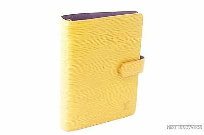 Auth Louis Vuitton Epi Agenda MM Day Planner Cover Yellow LV 26717