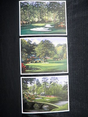 Set Of 3 Larry Dyke Augusta National Masters Golf Lithographs Holes 10-12