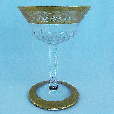 "THISTLE Saint Louis Saucer Champagne 7.5"" tall NEW NEVER USED 24kt gold France"