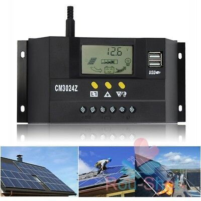 20/30/40A USB Port LCD Solar Panel Battery Regulator Charge Controller 12V/24V