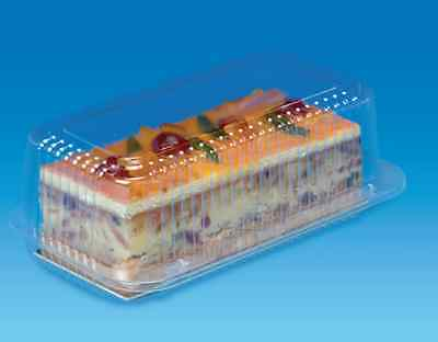 50 x CLEAR PLASTIC DISPOSABLE BOXES 242mm x 140mm x 91mm CAKE FISH SALAD