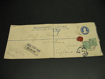 India 1920 registered stationery cover to UK faults *22955