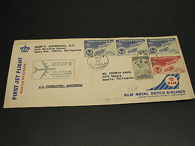 Philippines 1960 KLM first flight cover stains *23247